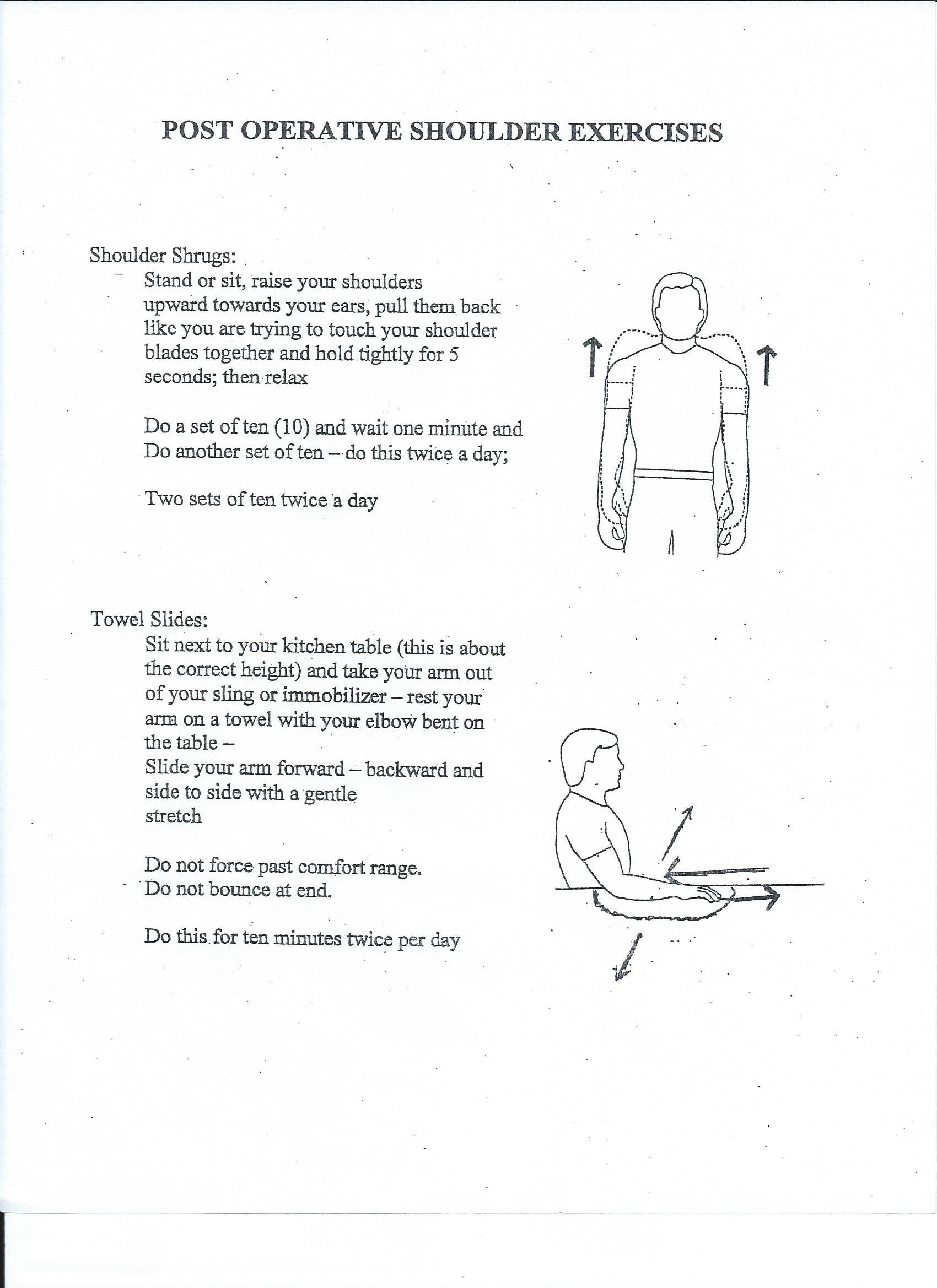 Post-Operative Shoulder Exercises - Joint Preservation Center